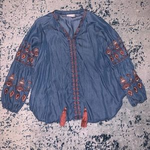 Patterned Denim Shirt